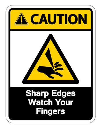 Caution Sharp Edges Watch Your Fingers Symbol Sign Isolate On White Background