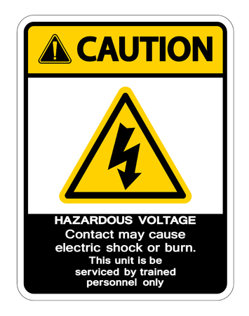 Hazardous Voltage Contact May Cause Electric Shock Or Burn Sign Isolate On White Background