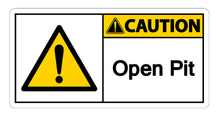 Caution Open Pit Symbol Sign Isolate On White Background