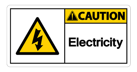 Caution Electricity Symbol Sign Isolate On White Background