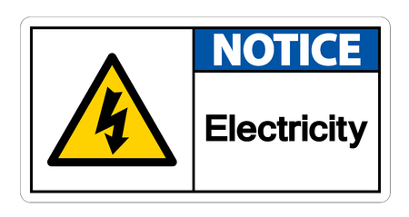 Notice Electricity Symbol Sign Isolate On White Background
