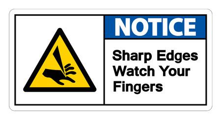 Notice Sharp Edges Watch Your Fingers Symbol Isolate On White Background Çizim