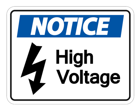 Notice high voltage sign Isolate On White Background