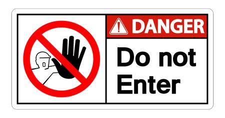 Danger Do Not Enter Symbol Sign Isolate On White Background Çizim