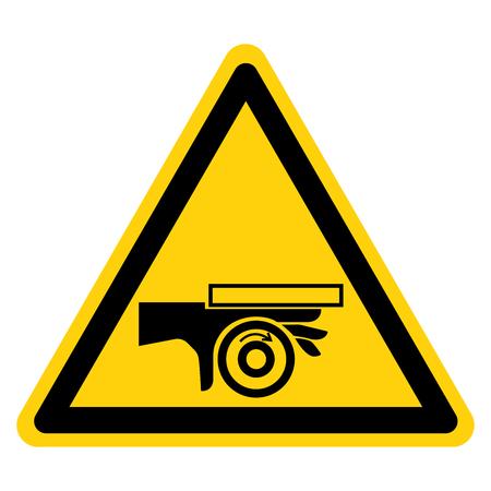 Hand Crush Roller Pinch Point Symbol Zeichen auf weißem Hintergrund isolieren