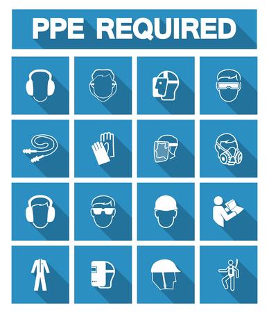 Symbol wymaganego sprzętu ochrony osobistej (PPE), ikona bezpieczeństwa