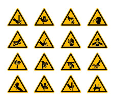 Triangular Warning Hazard Symbols labels On White Background,Vector Illustration