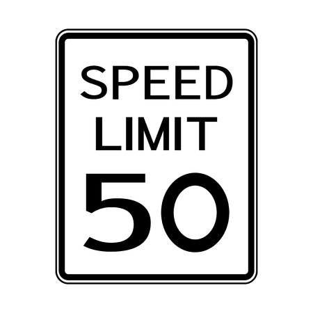 USA Road Traffic Transportation Sign: Speed Limit 50 On White Background,Vector Illustration