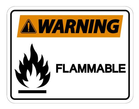 Warning Flammable Symbol Sign on white background,Vector Illustration Çizim