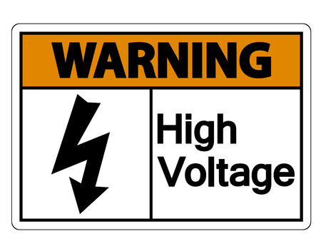 Warning high voltage sign Isolate On White Background,Vector Illustration