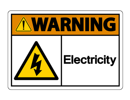 Warning Electricity Symbol Sign on white background,Vector Illustration