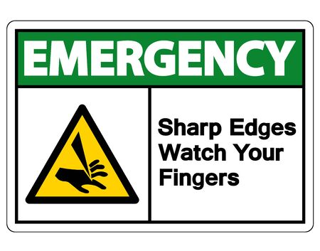 Emergency Sharp Edges Watch Your Fingers Symbol Sign Isolate On White Background,Vector Illustration