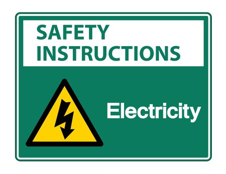 Safety instructions Electricity Symbol Sign Isolate On White Background,Vector Illustration