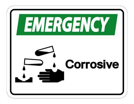 Emergency Corrosive Symbol Sign Isolate On White Background,Vector Illustration