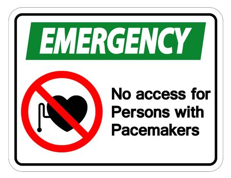 Emergency No Access For Persons With Pacemaker Symbol Sign Isolate On White Background,Vector Illustration