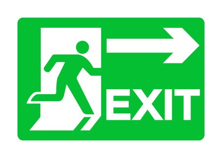 Exit Emergency Green Sign Isolate On White Background,Vector Illustration EPS.10 Vecteurs