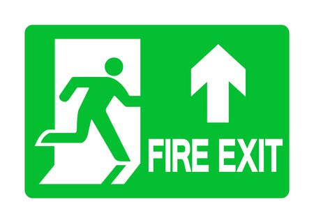 Exit Emergency Green Sign Isolate On White Background,Vector Illustration EPS.10