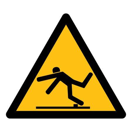 Beware Trip Hazard Symbol Isolate On White Background,Vector Illustration