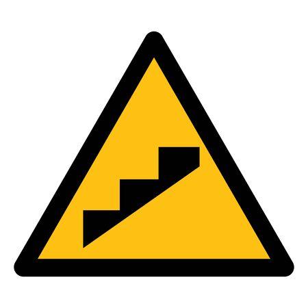 Vorsicht, Steigungsstufensymbol auf weißem Hintergrund, Vektorillustration Vektorgrafik