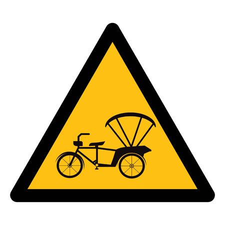 Beware Tricycle Symbol Sign Isolate On White Background,Vector Illustration