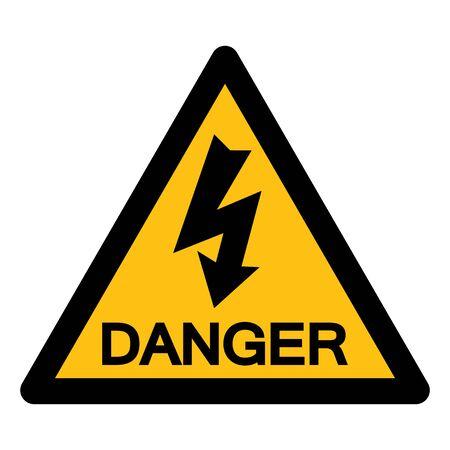 Signo de símbolo de alto voltaje aislado sobre fondo blanco, ilustración vectorial