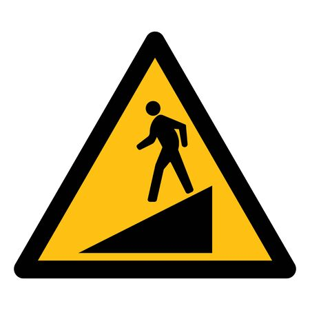 Beware Slope Symbol Sign Isolate On White Background,Vector Illustration