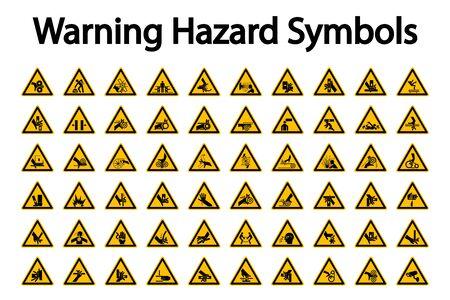 Etichette di simboli di pericolo di avvertenza triangolare su sfondo bianco
