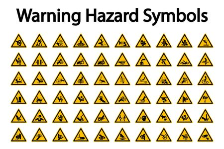 Trójkątne etykiety symboli ostrzegawczych zagrożenia na białym tle