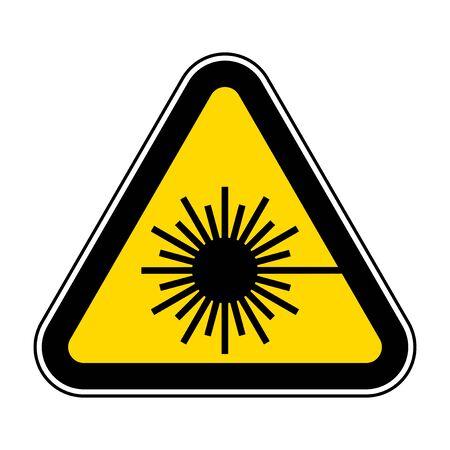 Tenga cuidado con el signo de símbolo de rayo láser aislado sobre fondo blanco, ilustración vectorial EPS.10 Ilustración de vector