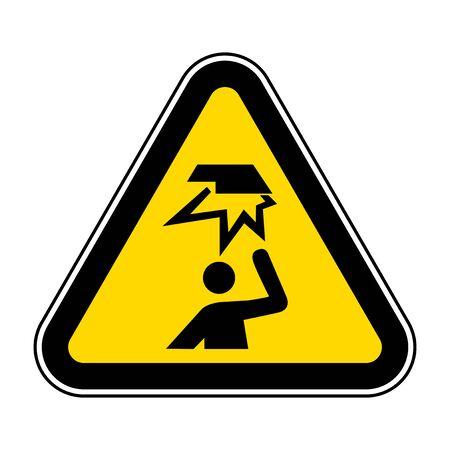 Tenga cuidado con el símbolo de obstáculos aéreos aislado sobre fondo blanco, ilustración vectorial EPS.10 Ilustración de vector