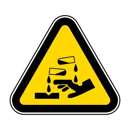 Beware Corrosive Substance Symbol Isolate On White Background,Vector Illustration EPS.10