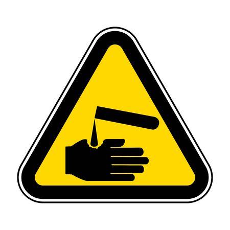 Beware Corrosives Symbol Isolate On White Background,Vector Illustration EPS.10