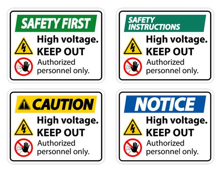 High Voltage Keep Out Sign Isolate On White Background,Vector Illustration EPS.10   イラスト・ベクター素材
