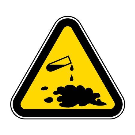 Méfiez-vous du signe de symbole de déversement de produits chimiques isoler sur fond blanc, illustration vectorielle EPS.10
