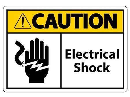 Znak symbolu porażenia prądem elektrycznym, ilustracji wektorowych, izolowanie na białym tle etykiety .EPS10