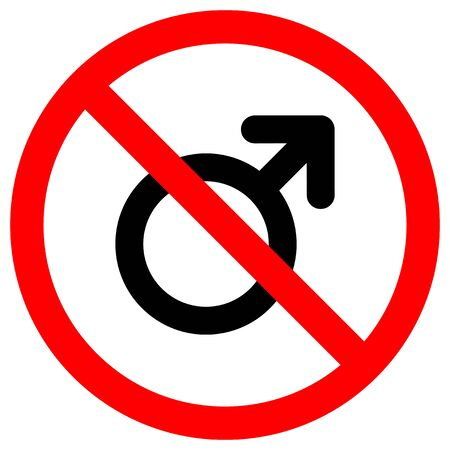 No Male Symbol Sign Isolate On White Background,Vector Illustration EPS.10  イラスト・ベクター素材