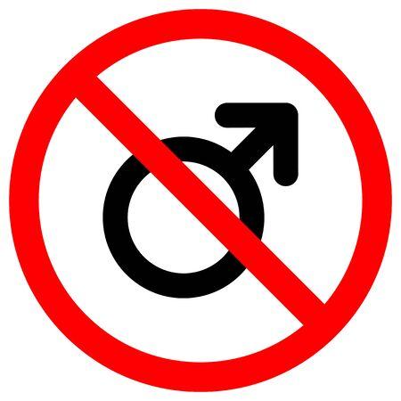 No Male Symbol Sign Isolate On White Background,Vector Illustration EPS.10 Ilustrace