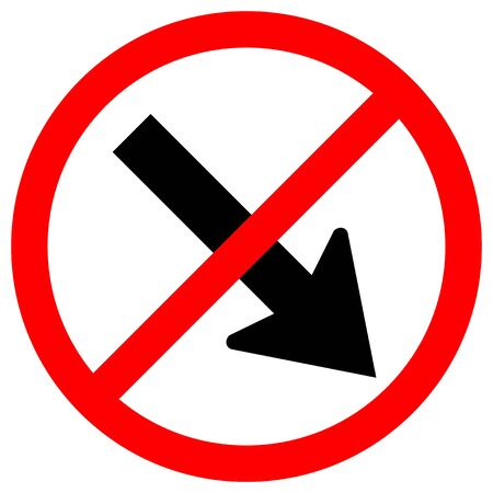 Forbid Keep Right by The Arrow Red Circle Traffic Road Sign Isolate On White Background,Vector Illustration EPS.10  イラスト・ベクター素材