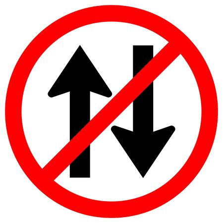 Forbid Two Way Traffic Road Sign Isolate On White Background,Vector Illustration EPS.10