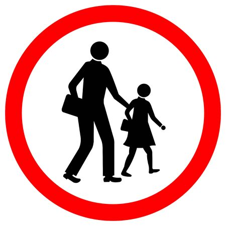 School Traffic Road Sign Isolate On White Background,Vector Illustration EPS.10