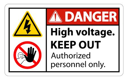Danger High Voltage Keep Out Sign Isolate On White Background,Vector Illustration EPS.10