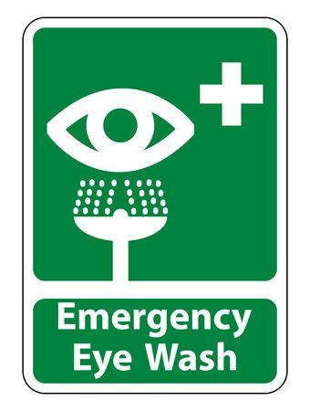 Emergency Eye Wash Sign Isolate On White Background,Vector Illustration  イラスト・ベクター素材