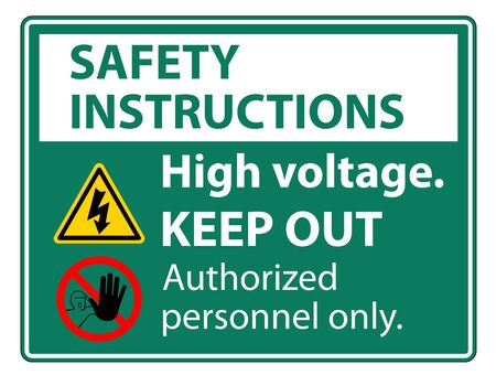 Safety instructions High Voltage Keep Out Sign Isolate On White Background,Vector Illustration EPS.10