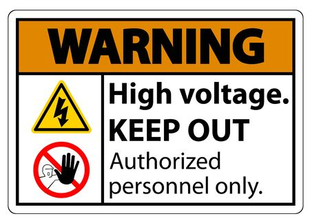 Warning High Voltage Keep Out Sign Isolate On White Background,Vector Illustration EPS.10