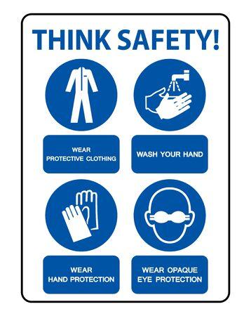 Sicherheits-PSA muss getragen werden Zeichen isolieren auf weißem Hintergrund, Vektor-Illustration EPS.10