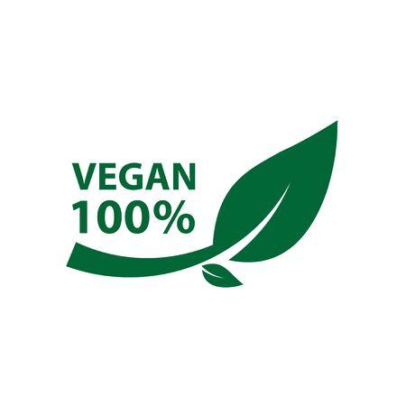 vegan icon bio ecology organic, label tag green leaf