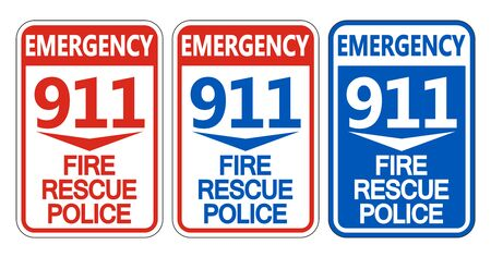 911 Fire Rescue Police Symbol Sign Isolate On White Background,Vector Illustration EPS.10 일러스트