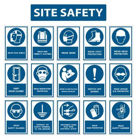 El equipo de protección personal de seguridad debe llevarse signo aislado sobre fondo blanco, ilustración vectorial EPS.10