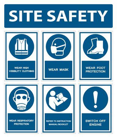 I DPI di sicurezza devono essere indossati segno isolato su sfondo bianco, illustrazione vettoriale EPS.10 Vettoriali