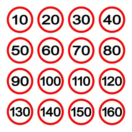 Speed Limit Signs Set Isolate On White Background  イラスト・ベクター素材